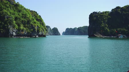 halong : Beautiful Azure Water Of Lagoon In The Halong Bay Stock Footage