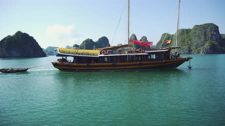 halong : View Of Travel At Tourist Boat On Ha Long Bay, A World Natural Heritage