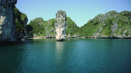ba : Junk Boat Ride View Of Nature Scenery In Halong Bay Vietnam Stock Footage