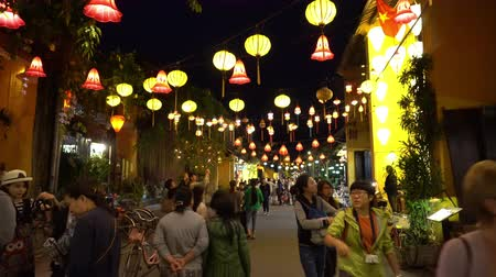 díszített : Evening Street Decorated With Glowing Lanterns. Hoian. Vietnam.