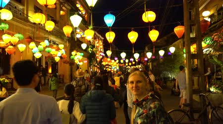 indochina : Evening Street Decorated With Glowing Lanterns. Hoian. Vietnam.