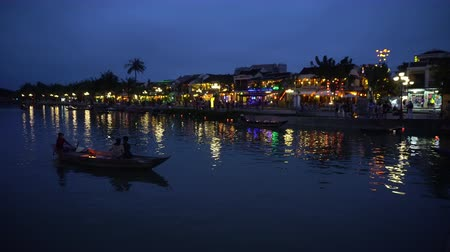 hoi an : Night river view with floating lanterns and boats. Hoi An, Vietnam