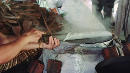 hoi an : Rice Paper Being Made On A Steamer In Vietnam Stock Footage