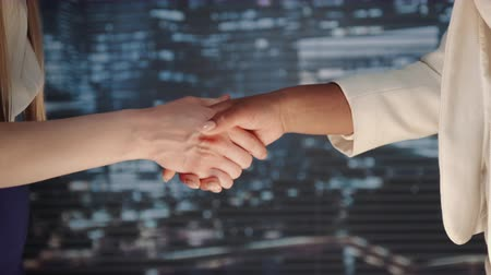 Close up of two business women shaking hands with each other. They have made a good bargain.