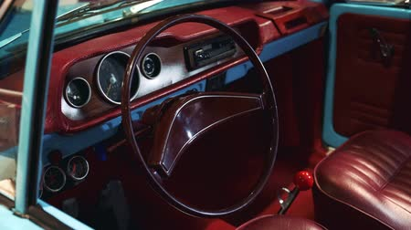 hız göstergesi : Bordeaux interior of vintage car. Limited edition