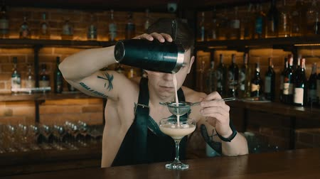 shaker : The Bartender Makes a Cocktail Stock Footage