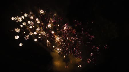 solemn : Beautiful Fireworks in the Night Sky Stock Footage