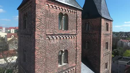 exterior : areial view to the two red towers in the medieval town altenburg rote spitzen