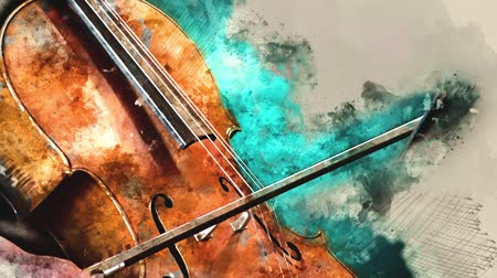enstrümanlar : Detail of a woman playing cello art painting artprint
