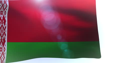 três quarto comprimento : Flag of belarus waving in the wind wave