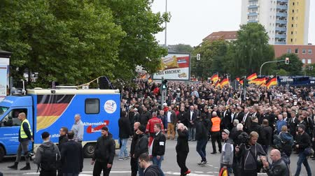 special police : Chemnitz, Germany - September 01, 2018: Afd demonstration Trauermarsch