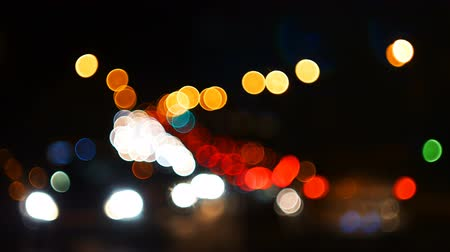 Defocused lights of night highway Wideo