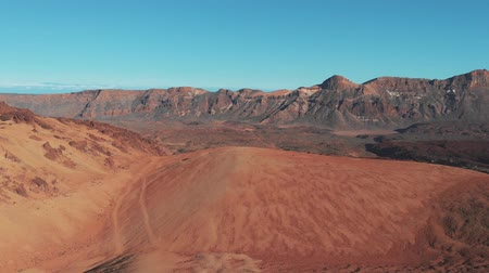 área de deserto : Aerial view of the desert in mountains in volcanic zone in Canary islands