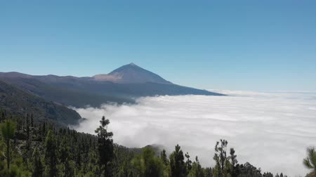 kanarya : Stunningly beautiful aerial view of the volcano Teide and the valley covered with clouds. Teide National Park, Tenerife, Canary Islands, Spain