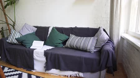 projetado : Soft beautiful cosy sofa with a book, pillows, plaid and blanket. Lagom concept