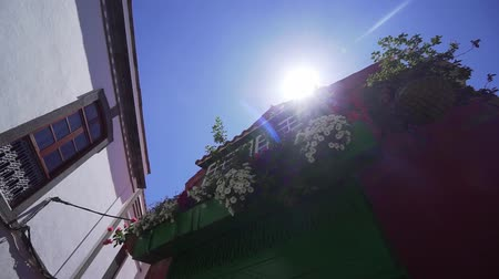 homeopático : Large balcony with beautiful flowers. Exterior of a medieval spanish red building Stock Footage