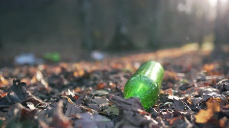 wysypisko śmieci : Plastic bottle in the autumn forest close-up. Polluted land and ecology