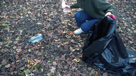 coletando : Collecting garbage in the environment. Cleaning in nature after a human visit. Organized girl folds bottles and bags