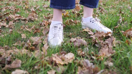 chutando : Womens feet in white sneakers on green grass with fallen dry leaves. Static closeup shot, autumn nature