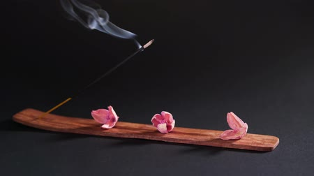 Objects for aromatherapy on a dark background, close-up. Incense and dry pink flowers