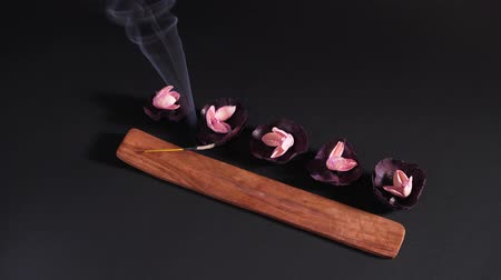 Traditional Oriental medicine. Aroma stick smokes beautifully, five dry flowers in the stands. The concept of aromatherapy and healing of the soul