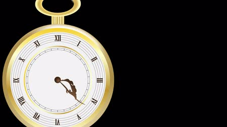 tárcsáz : Animated golden pocket clock with moving dials Stock mozgókép