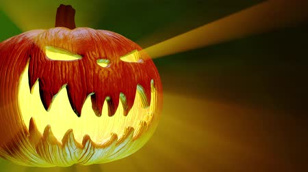 dia das bruxas : Jack-O-Lantern, Halloween Pumpkin, Scary Shape, Green Background.