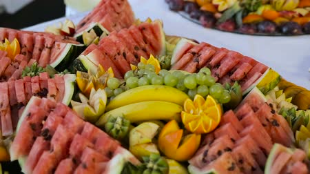 appetizers : delicious Candy bar at a wedding Stock Footage