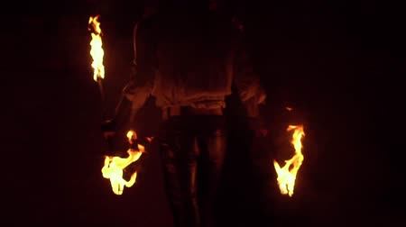 heyecan verici : fire show breather spitting flame. Slow motion Stok Video