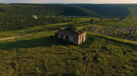 roofless : aerial ruins of church and cemetery