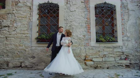 Bride and groom at wedding dance outdoor Stock Footage
