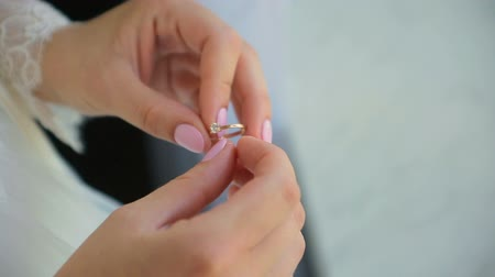 Girl with beautiful nail polish wearing a diamond ring on her finger Stock Footage