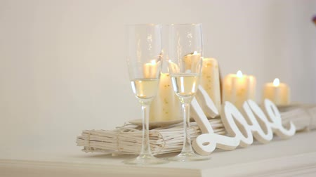 Wedding decor and candles Stock Footage