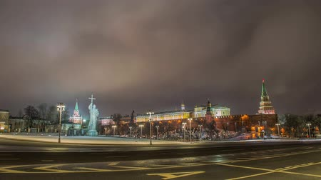 points of interest : monument of Vladimir in Moscow at night Stock Footage