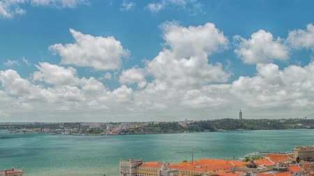 miradouro : Panoramic view of Lisbon city and Tagus river Stock Footage