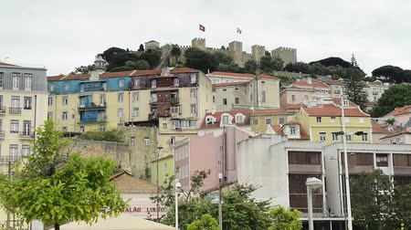 miradouro : Lisbon, Portugal skyline towards Sao Jorge Castle. Stock Footage