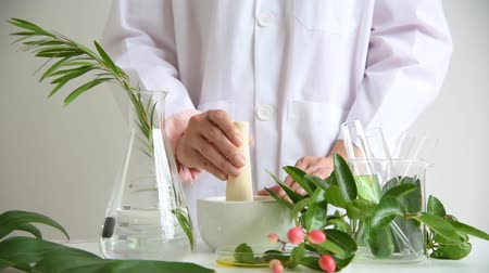 lényeg : Medicine preparation formulating, Pharmacist grinding and mixing natural herb extract in mortar, Research and development alternative pharmacy concept. Stock mozgókép