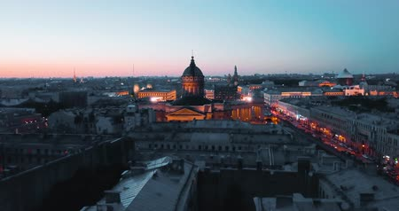 Aerial shot of Kazan Cathedal at night . Saint Petersburg, Russia. city from above, cinematic drone video, historical buildings of nothern capital.