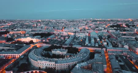 Night in Saint Petersburg, Russia. city from above streets and rivers, cinematic drone video, historical buildings of nothern capital.