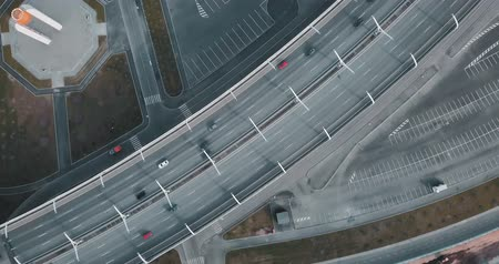 Aerial survey. moving cars on the bridge. modern road. top view. city magistral or street highway for transport. concept for web background. Стоковые видеозаписи