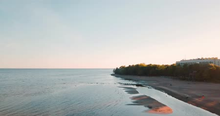 Amazing sunset and sea. The blue ocean. Summer weekend or vacation. horizontal view. Russian Landscape background. The Gulf of Finland. Baltic Sea. Стоковые видеозаписи