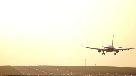 Airplane Landing on Airport Runway at Sunset, Beautiful Golden Sky 3