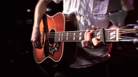 Guitarist Playing Acoustic Guitar on Stage - Close Up Strumming, Live Music 2