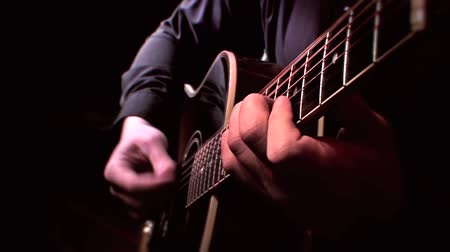 Guitarist Playing Acoustic Guitar on Stage - Close Up Strumming, Live Music