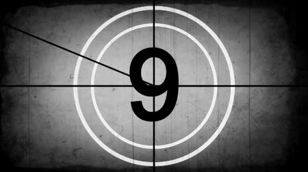 Old Film Countdown Leader Animation Graphic (grayscale) Wideo