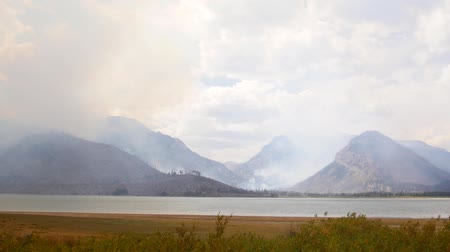 grand tetons : Forest Fire in Grand Tetons National Park, Wyoming 2 Stock Footage