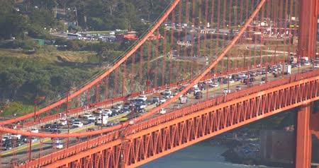Traffic  Congestion on Golden Gate Bridge, San Francisco California Wideo