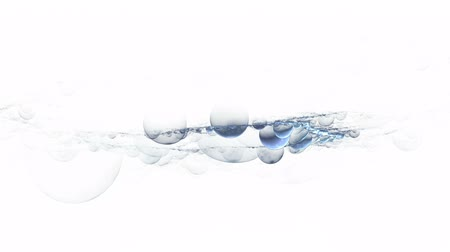 concept : Blue water or soap bubbles floating on white background, animated abstract illustration  30fps, HD1080,   loopabable Wideo