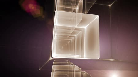 estruturas : dynamic golden cubes, geometrical   perspective with rays of light, animation, 30fps, HD1080, seamless loop