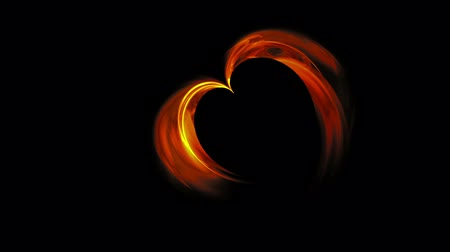 red symbol : Abstract blazing red heart made of flames on black background, animation, 30fps, HD1080, seamless loop